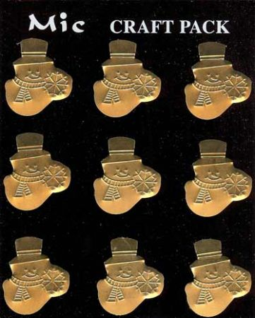 Gold Metal Christmas Snowmen Toppers for Crafts